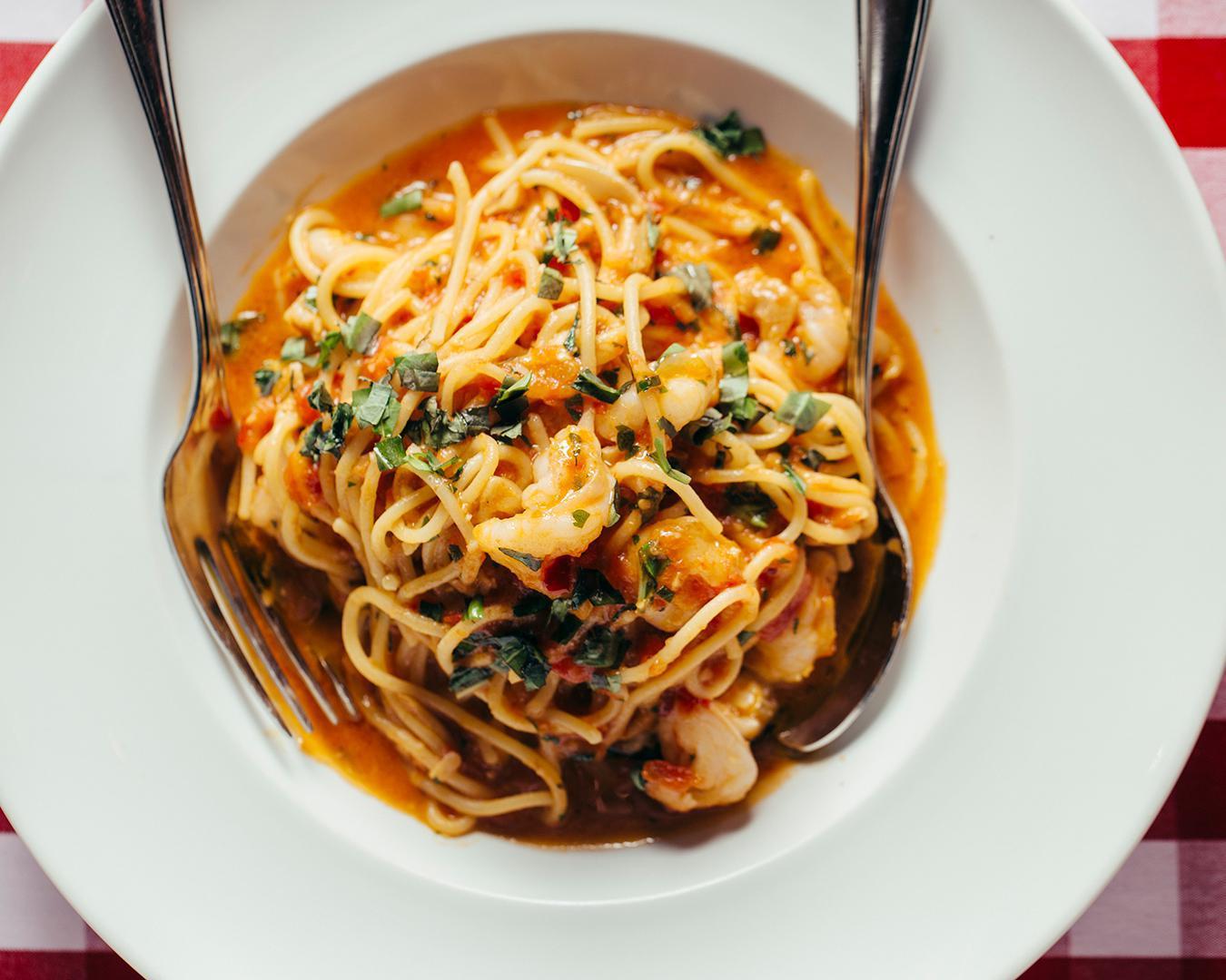 Spicy Scampi Spaghetti