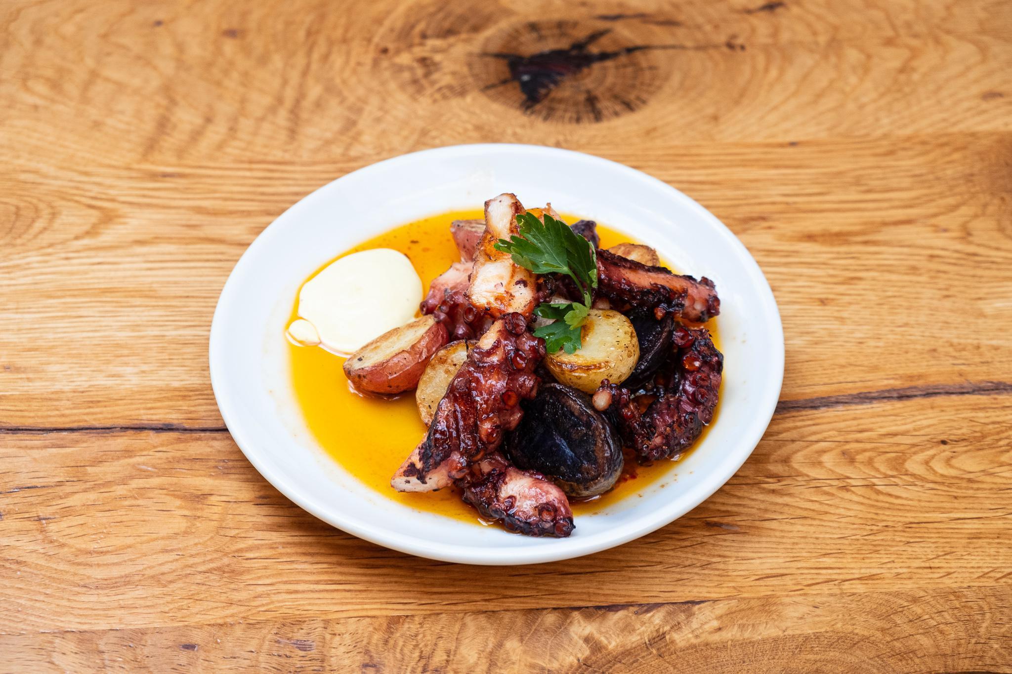 Grilled Spanish Octopus, Potatoes, Nduja Vinaigrette & Saffron Aioli