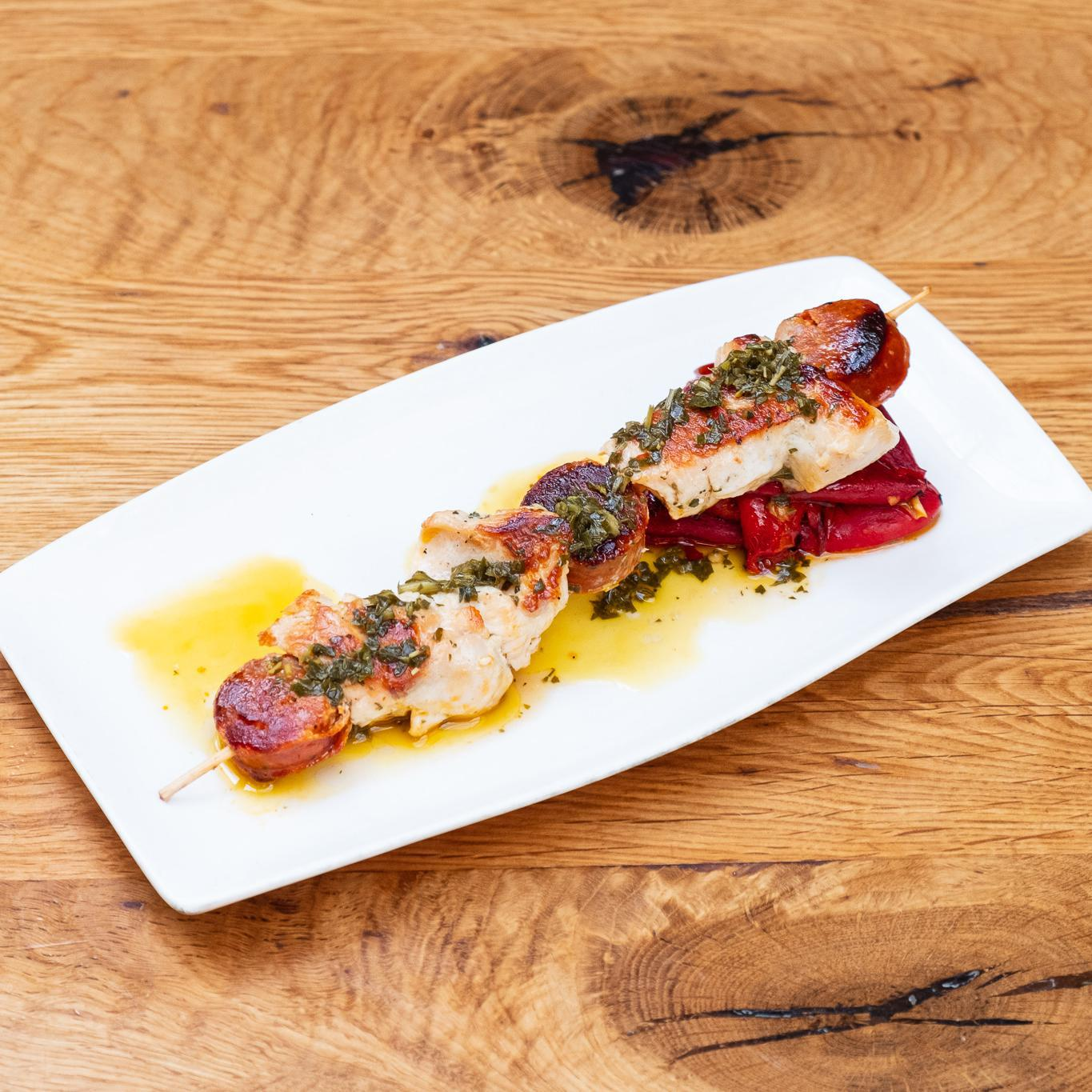 Chicken & Chorizo Skewer, Grilled Piquillo Peppers, Herb Oil