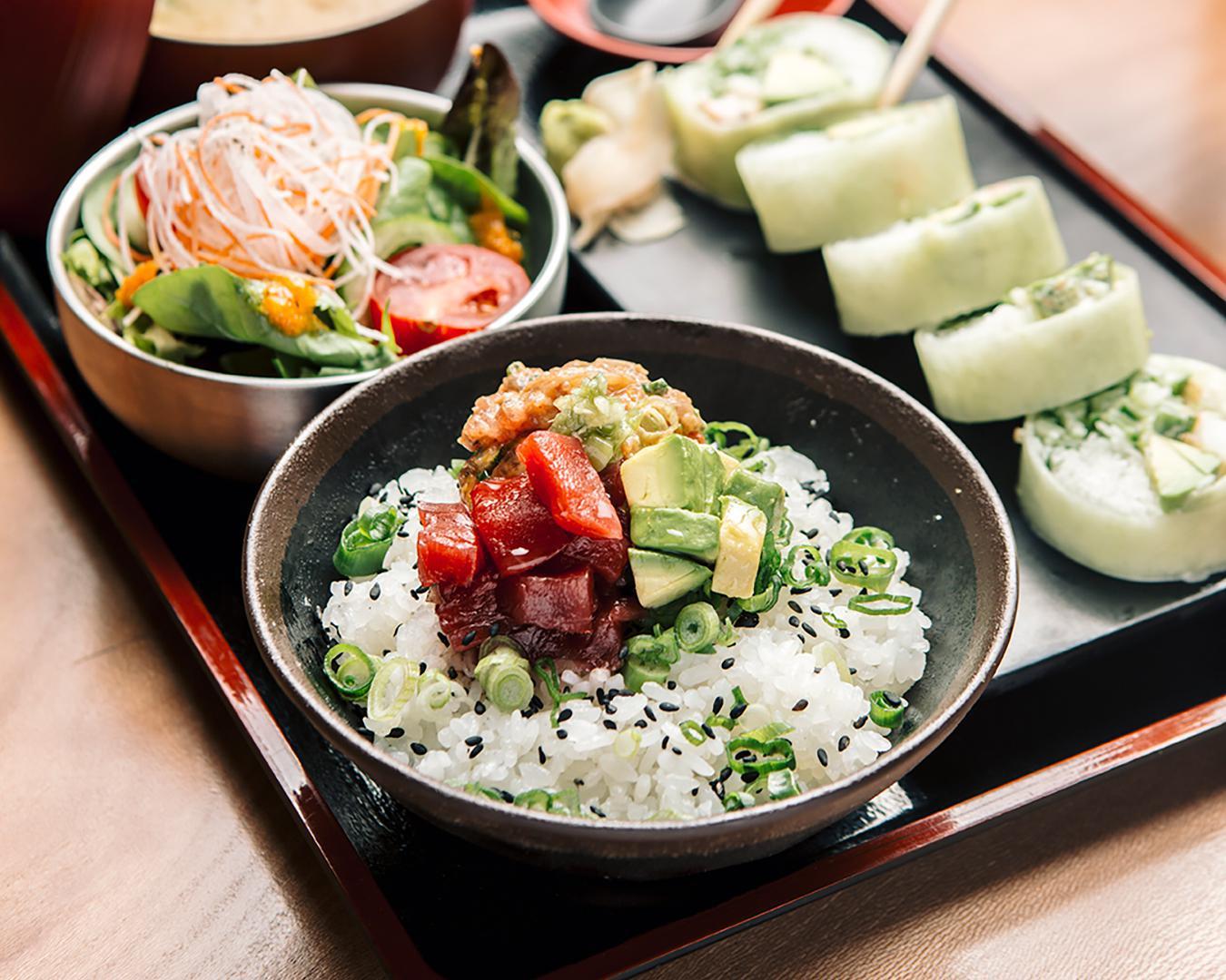 raw tuna and avocado