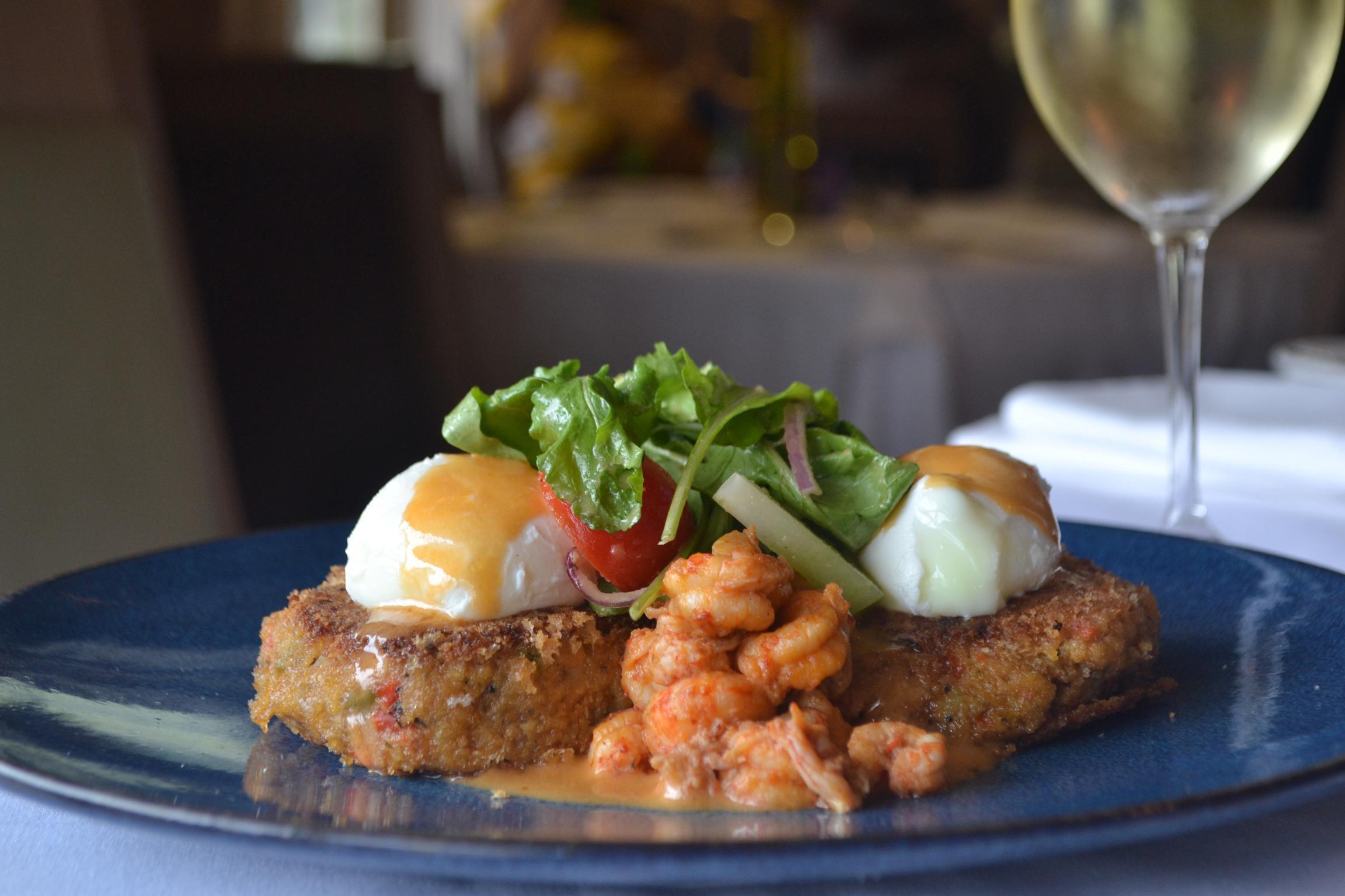 Crawfish Cakes & Poached Eggs Photo