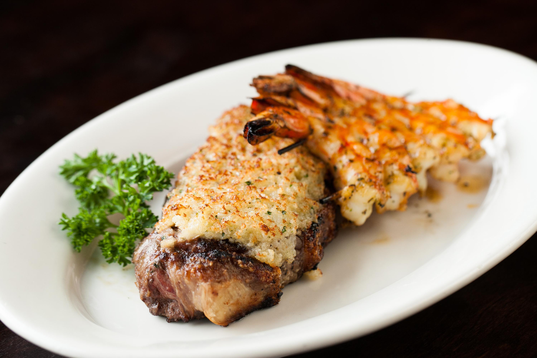 New York Steak and Grilled Shrimp Skewer