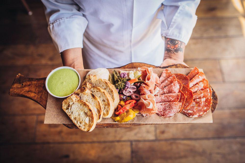 """Charcuterie Board """"Antipasto"""" with Prosciutto, Salami, Sopressata, Artisan Cheese, for the table at Wolfgang Puck Bar & Grill"""