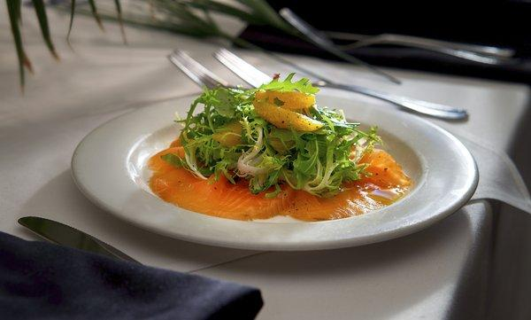 House cured Atlantic salmon with insalatina of curly endive, fennel and orange at Frantoio Ristorante