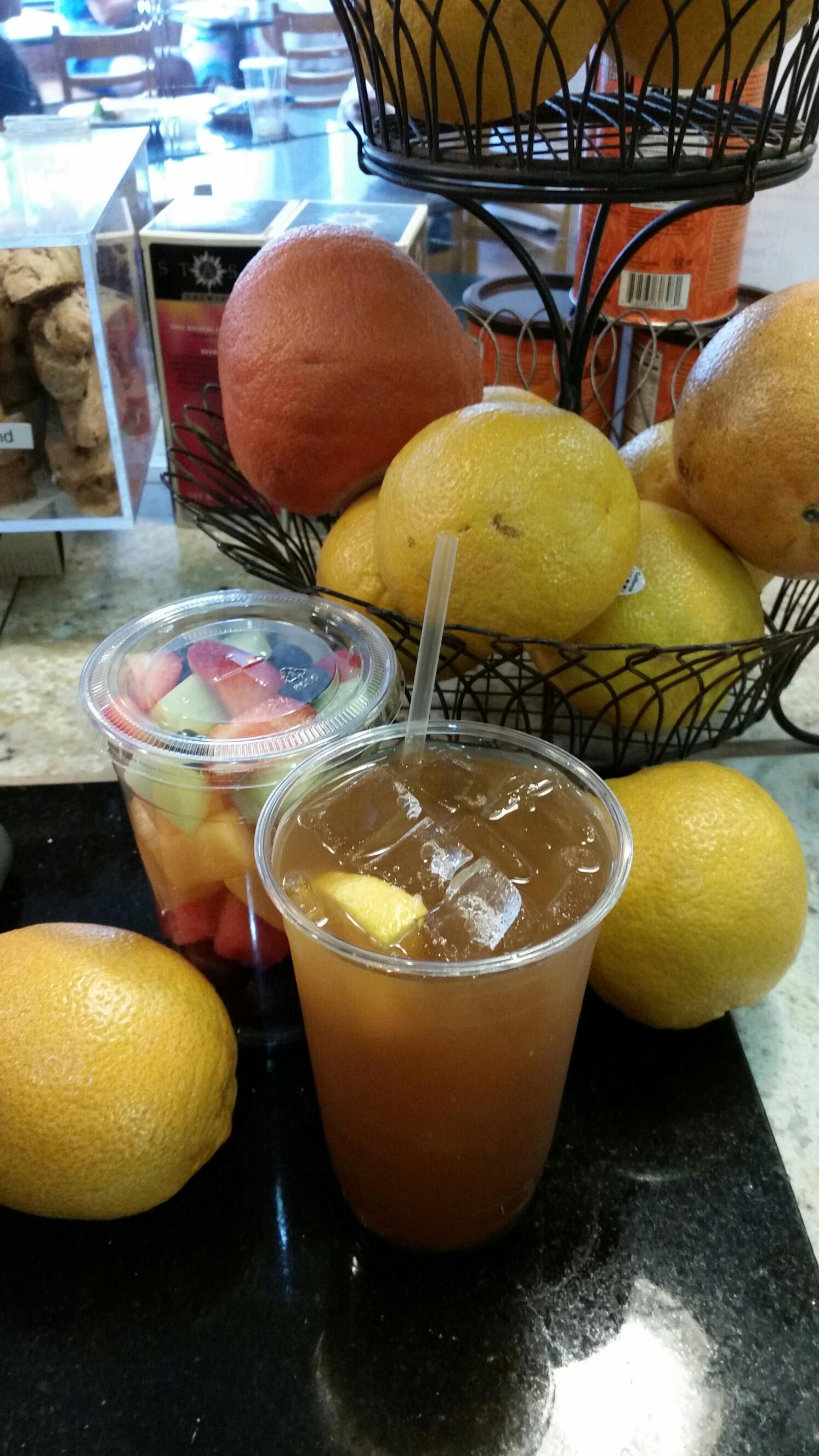 """Home Brewed"" Ice Tea & Fruit Cup at South Street Creamery Cafe"