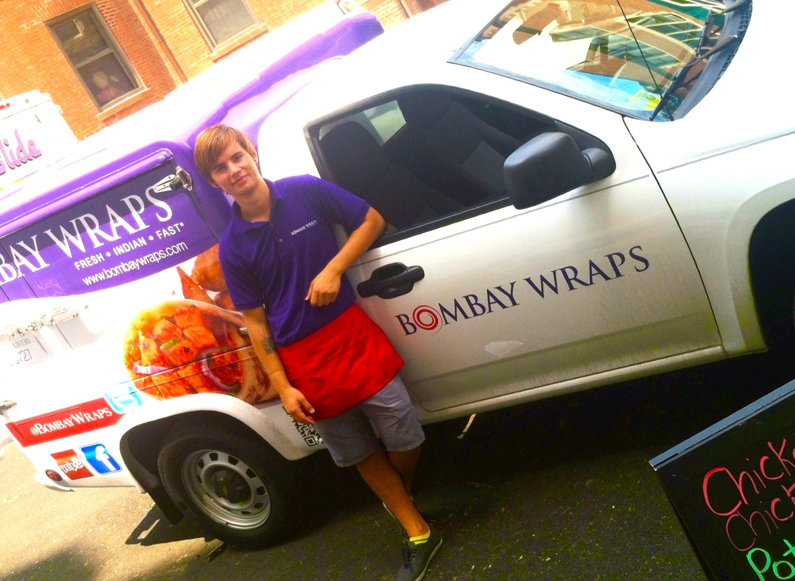 Follow us on Twitter.com/bombaywraps to get updated on our truck or call us at 312.739.9727 to have our truck at your event at Bombay Wraps
