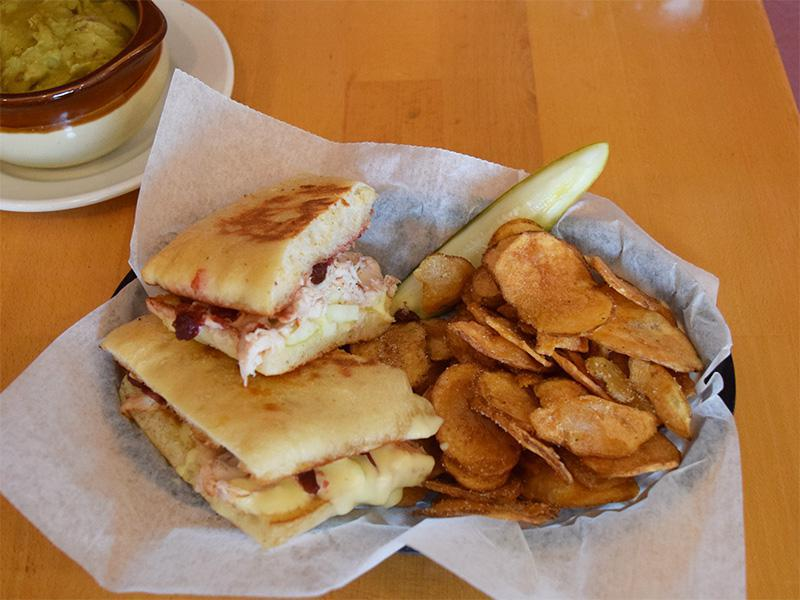 Grilled Turkey & Brie - Turkey, brie, apple slices, cranberry chutney on panini at West Allis Cheese & Sausage Shoppe
