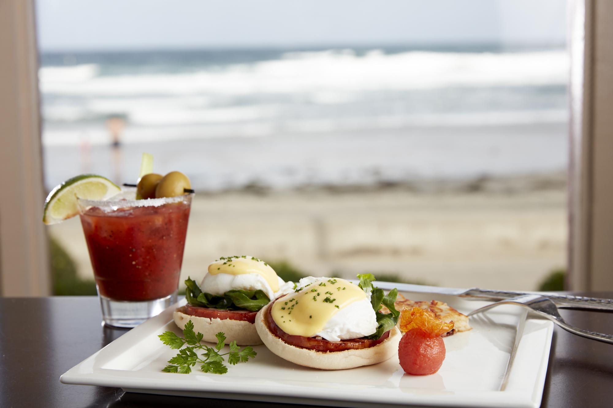 Eggs Benedict : 14.75 canadian bacon, arugula, english muffin, citrus hollandaise at Shores Restaurant, The