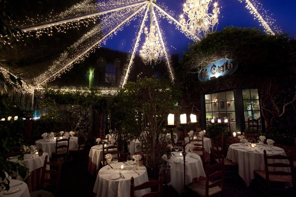 Front Patio at Night at Il Cielo