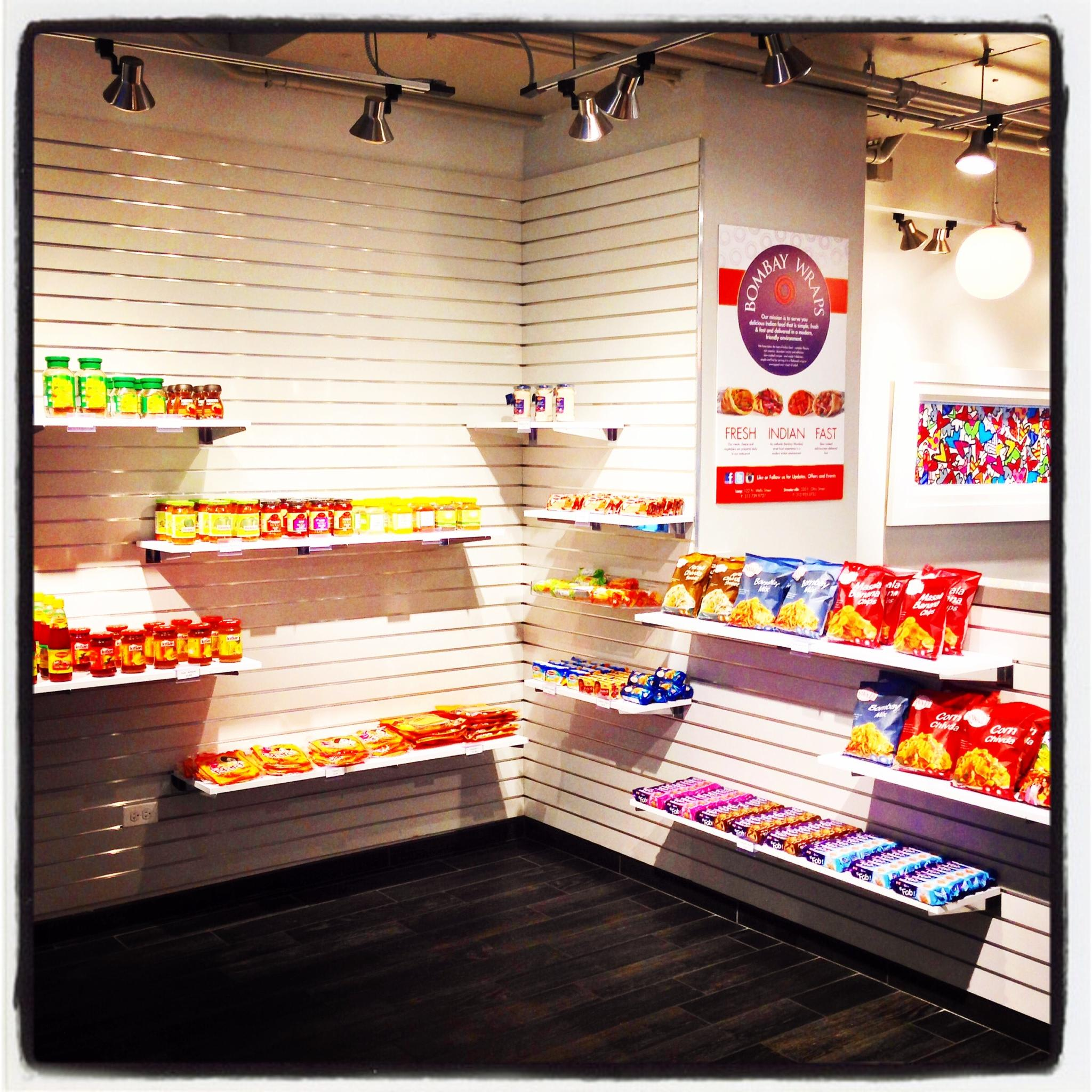 Creating a mini grocery section in our Streeterville location (330 E Ohio St) at Bombay Wraps