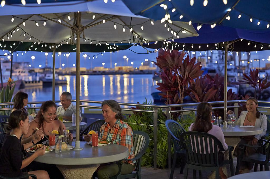Dine outside on our lanai with a great view of the harbor. at Nico's at Pier 38