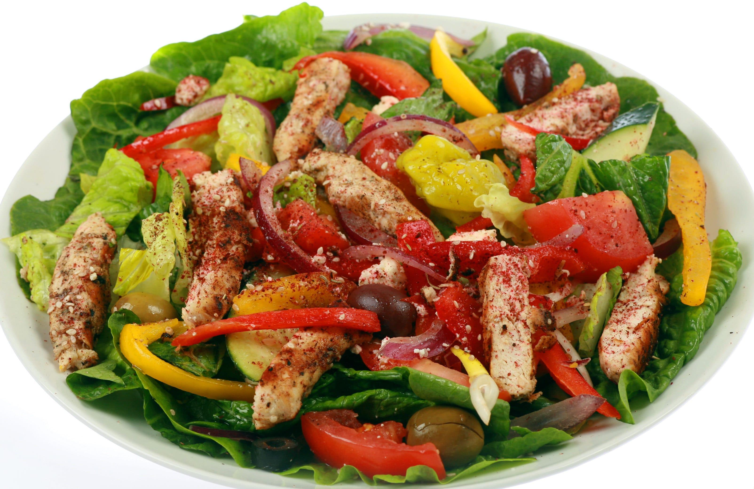 Greek salad with chicken at Mediterranean Cafe