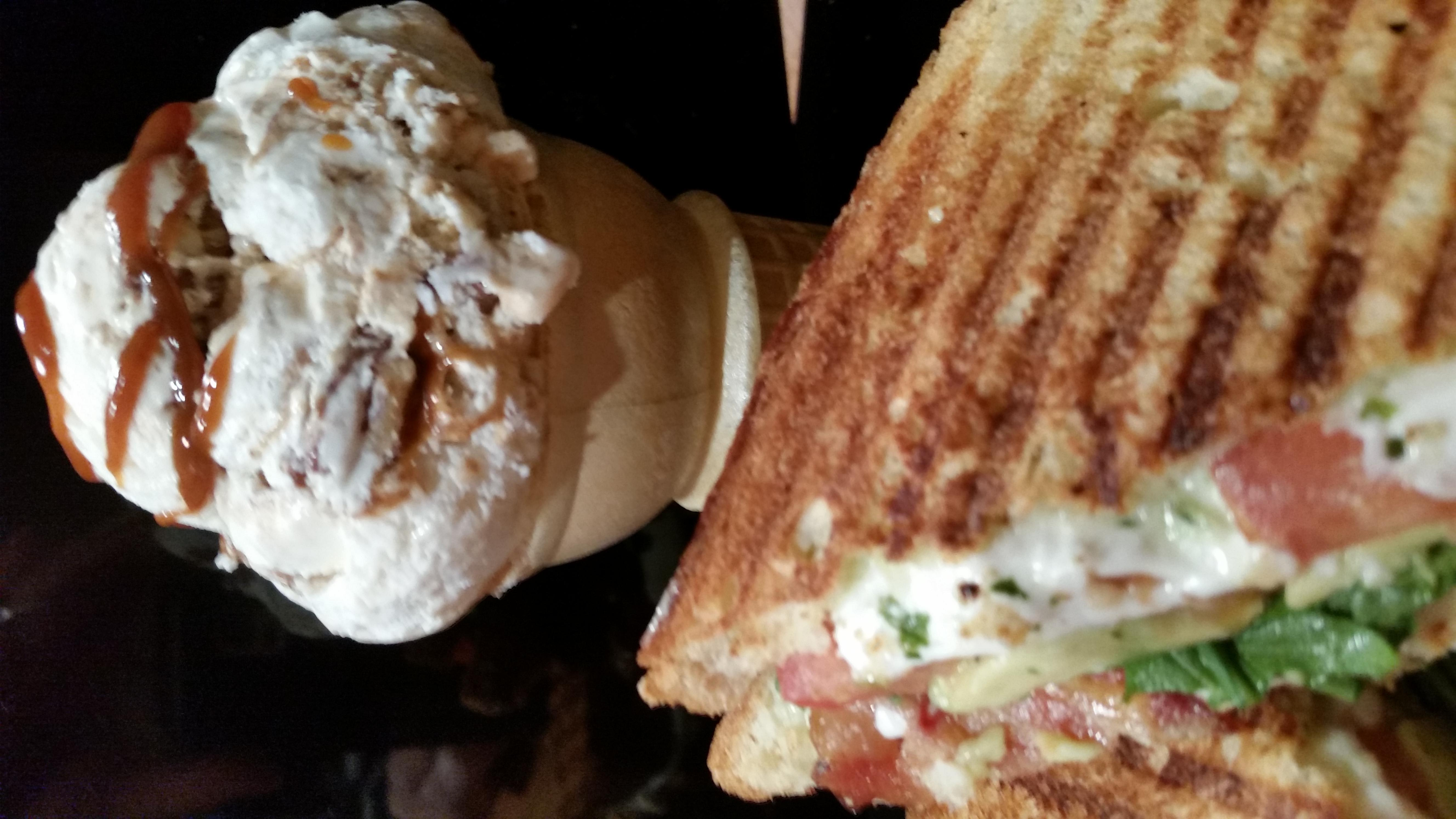 BLT Panini with a side of Almond Joy Ice Cream! at South Street Creamery Cafe