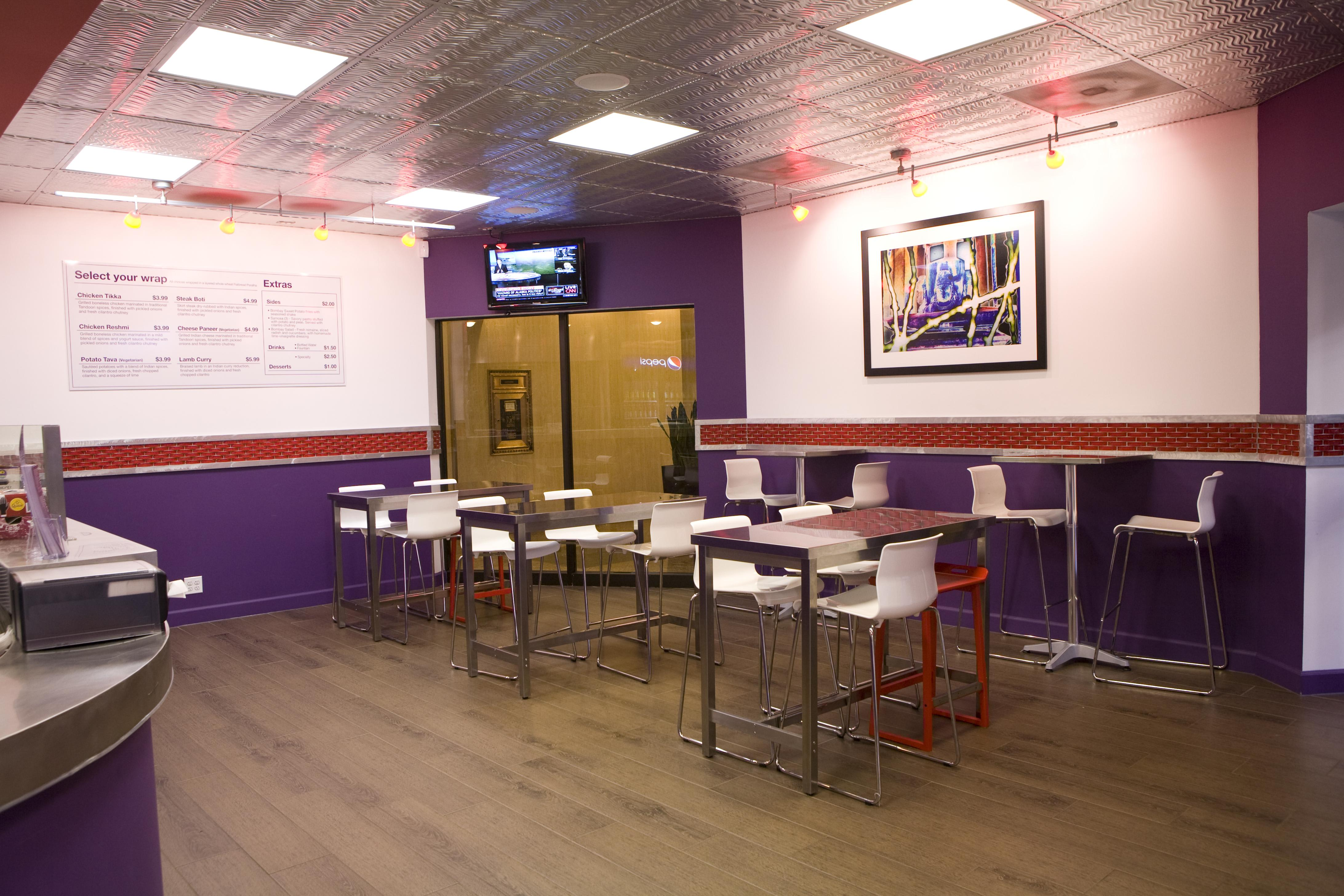 A look inside the Loop location: 122 N Wells St at Bombay Wraps