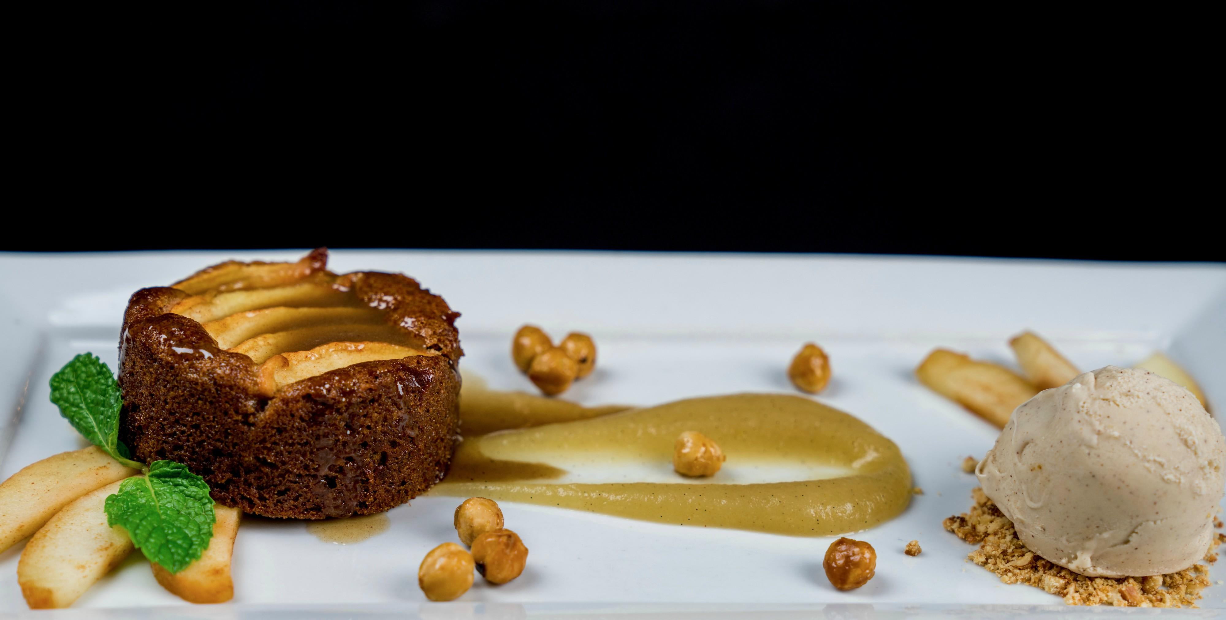 "Roasted Apple Gingerbread Cake Cinnamon caramel, agave glazed hazelnuts, green apple puree, house-made hazelnut soy milk ""ice cream"" Vegan & gluten free at Tonto Bar & Grill"
