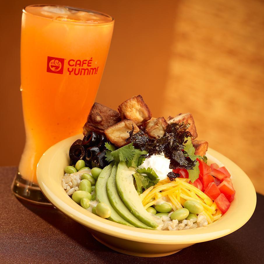 Medium edamame bowl with added tofu at Cafe Yumm!