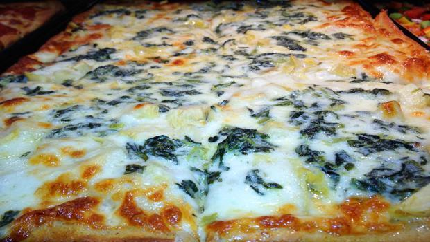 Focaccia Artichoke & Spinach in a Truffle Cream Sauce at Previti Pizza