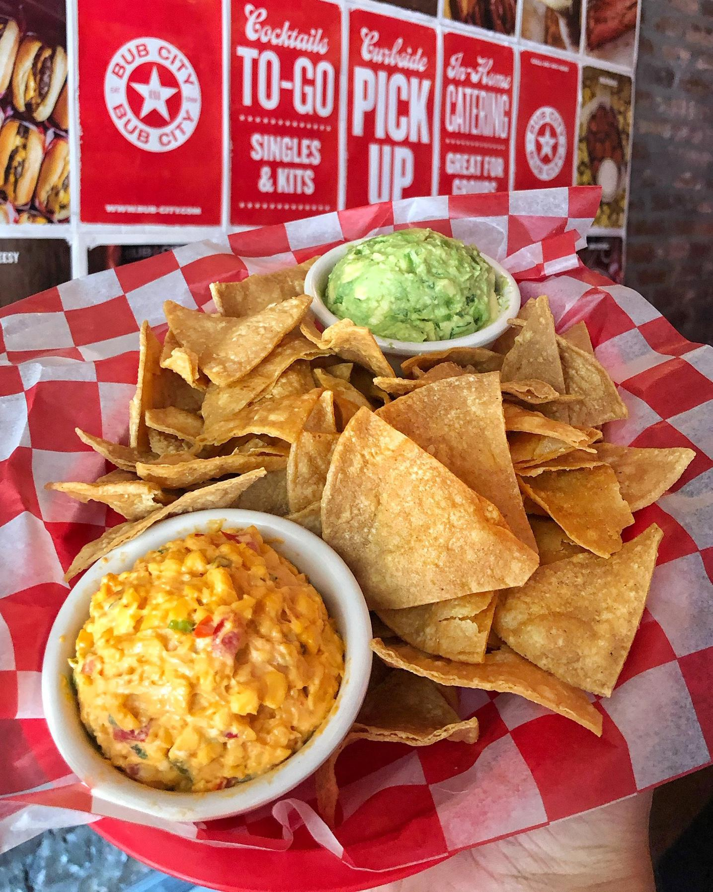Guacamole, Pimento Cheese and Chips